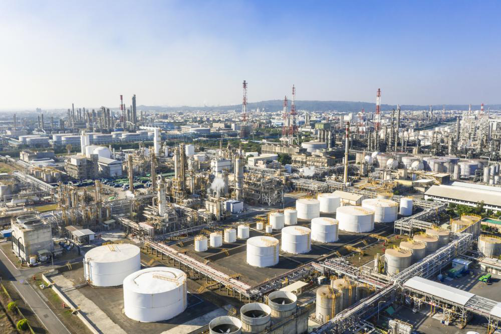 Aerial view of a chemical manufacturing plant